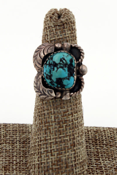 Navajo Sterling Silver Chunky Boulder Kingman Turquoise Nugget Ring Size 5.25