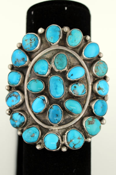 Navajo 1930's Giant Sterling Silver Turquoise Cluster Bracelet Dead Pawn