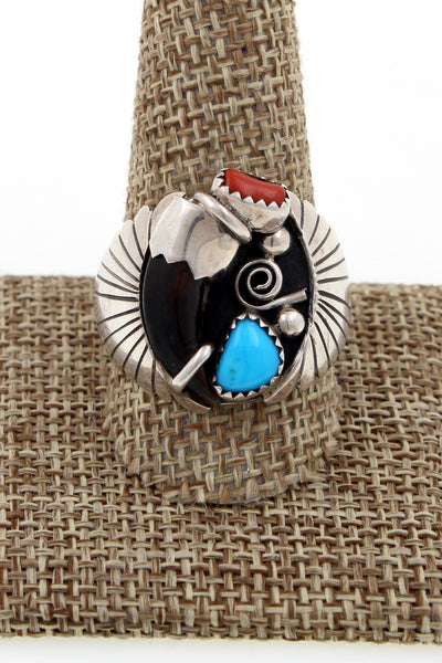 Navajo Sterling Silver Arnold Maloney Turquoise & Coral Bear Claw Ring Sz 11.75