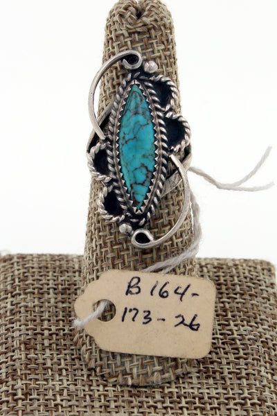 Navajo Sterling Silver Royston Turquoise Ring w/ Original Pawn Tag Marked Size 6