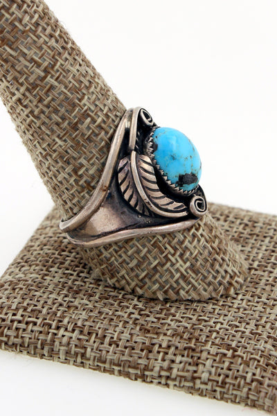 Navajo Sterling Silver Bisbee Turquoise Saddle Ring by Richard Hoskie 10.5