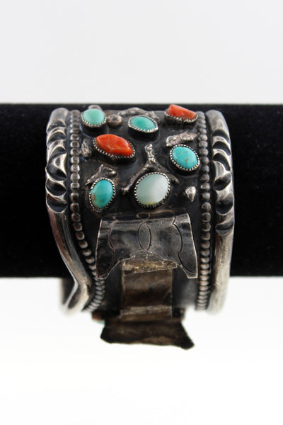 Navajo Sterling Silver Turquoise, Coral & Mother of Pearl Watch Cuff Bracelet