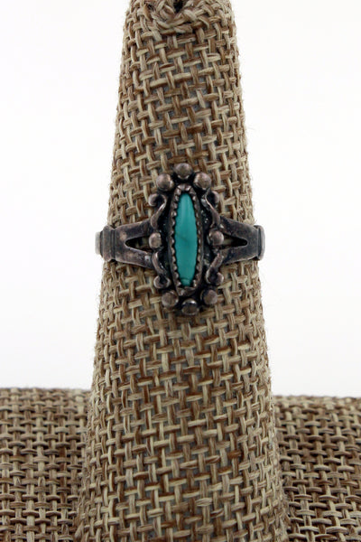 Fred Harvey Era Sterling Silver Turquoise Solitaire Ring Size 6.5
