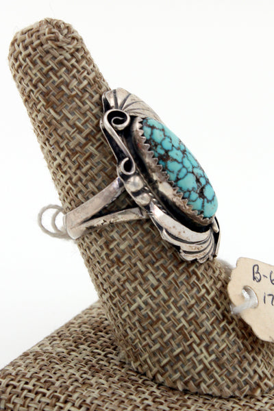 Navajo Sterling Silver Vintage Dry Creek Turquoise Spiderweb Turquoise Ring 7.5
