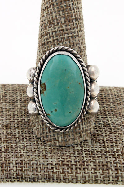 Navajo Sterling Silver Hand Stamped Royston Turquoise Ring Sz 14 A & J Cleveland