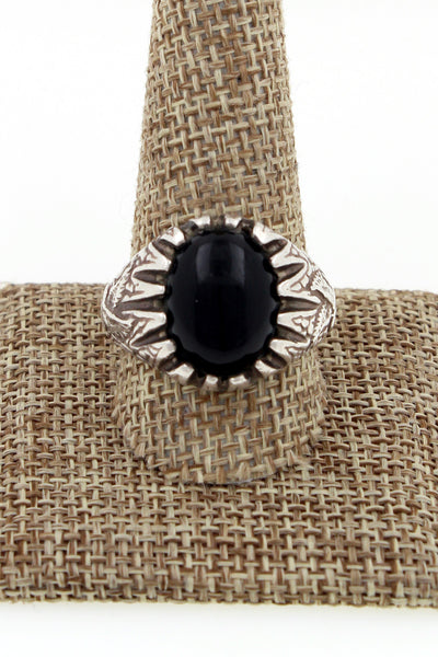 1970's Cast Sterling Silver Onyx Eagle Biker Ring Size 11.75