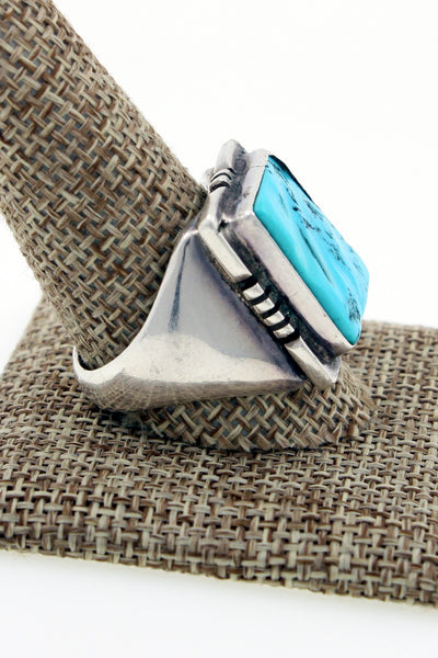 Navajo Sterling Silver Sleeping Beauty Turquoise Hand Filed Ring Size 12 by JHC