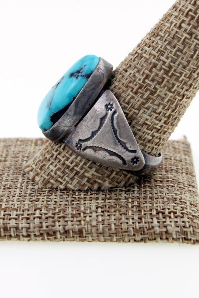 Navajo Sterling Silver Kingman Turquoise Hand Stamped Ring Marked AJ Size 11.25