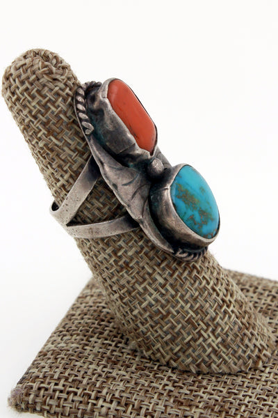 Navajo Sterling Silver 1950's Royston Turquoise & Coral Ring Size 6