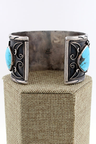 "Navajo Sterling Silver Bisbee Turquoise Hand Stamped 5 Stone Cuff Bracelet ""JB"""