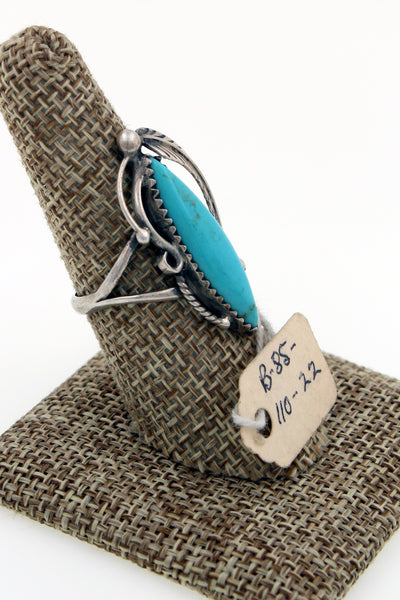 Navajo Sterling Silver Blue Gem Mine Turquoise Ring w/ Original Pawn Tag 8.75