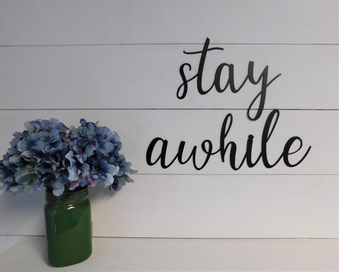 Stay Awhile Metal Word Set