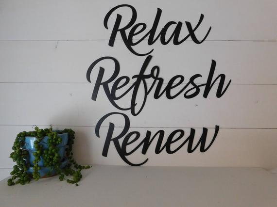 Relax, Refresh, Renew, Set Of 3 Metal Signs