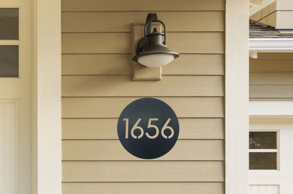 Round Modern Metal Address Sign