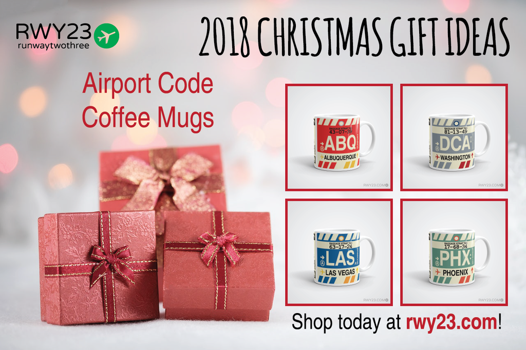 2018 Christmas Gift Ideas: Coffee Mugs - Cool Airport Code Stuff - RWY23