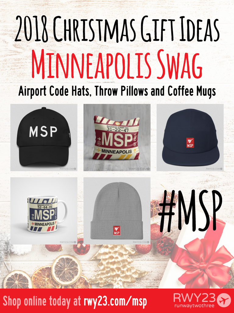 2018 Christmas Gift Ideas – MSP Minneapolis-St. Paul Airport Code Swag – RWY23