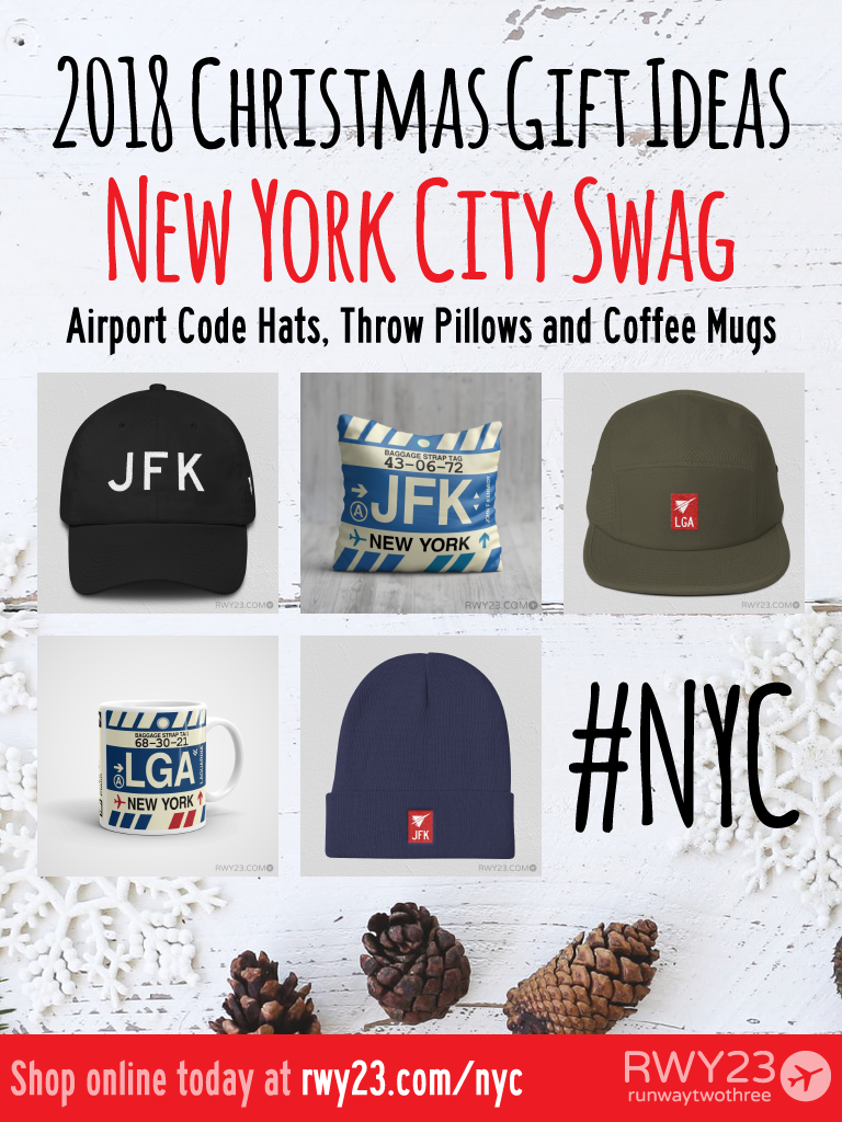 2018 Christmas Gift Ideas – JFK and LGA New York Airport Code Swag – RWY23