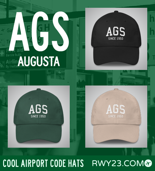 Augusta Airport Code Hats - Cool Airport Code Stuff - RWY23
