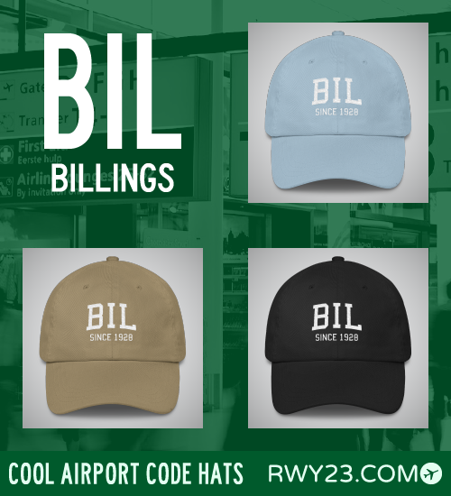 BIL Billings Airport Code Hat - Cool Airport Code Stuff - RWY23