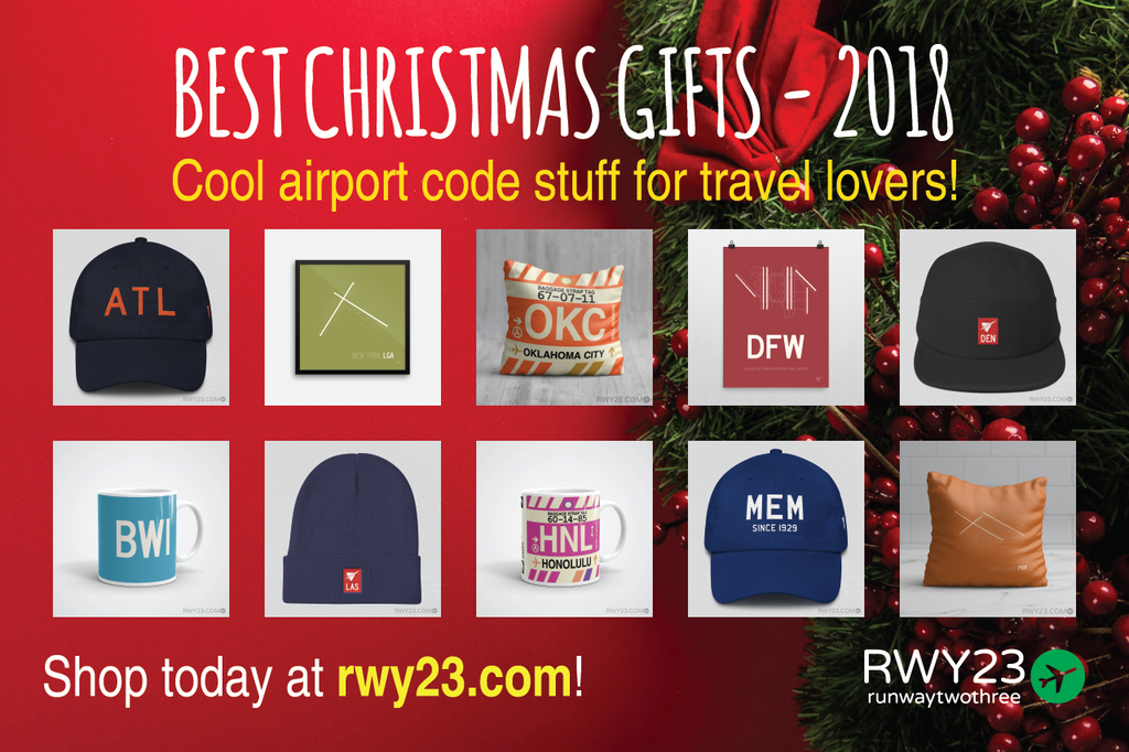 Best Christmas Gifts for Travel Lovers 2018 - Cool Airport Code Stuff - RWY23