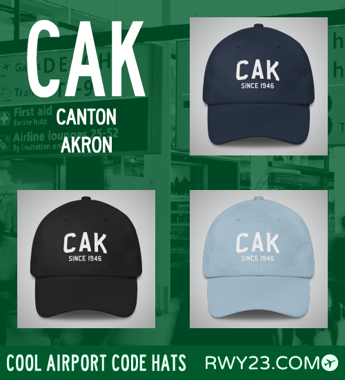 RWY23 - CAK Canton Akron Airport Code Hat - Cool Airport Code Stuff