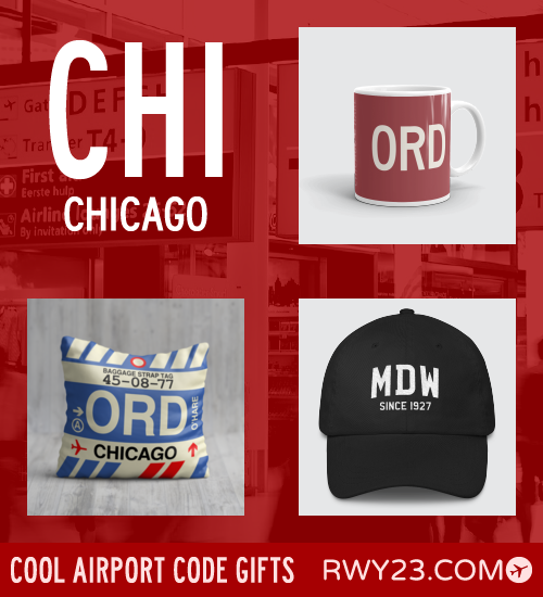 RWY23 - CHI Chicago Local Gift Ideas - Cool Airport Code Stuff