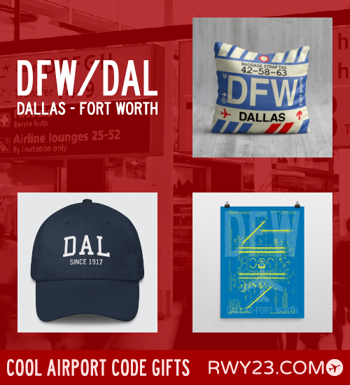 RWY23 - DFW/DAL Dallas Local Gift Ideas - Cool Airport Code Stuff