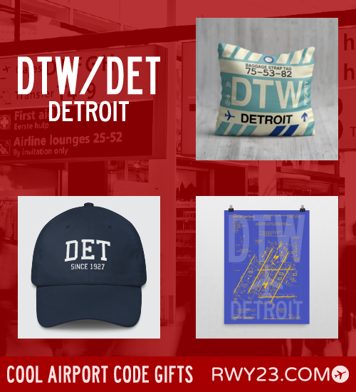 RWY23 - DTW/DET Detroit Local Gift Ideas - Cool Airport Code Stuff