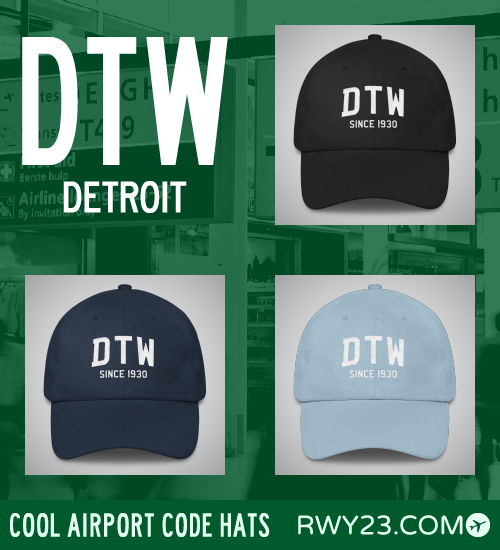 Detroit Airport Code Hats - Cool Airport Code Stuff - RWY23