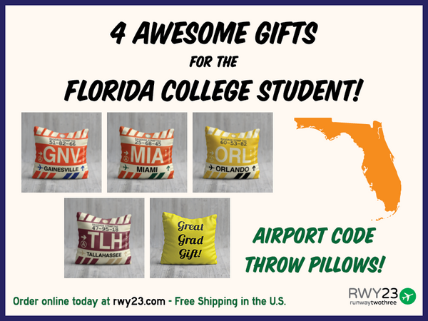 4 awesome graduation gifts for the Florida college student - airport code throw pillows