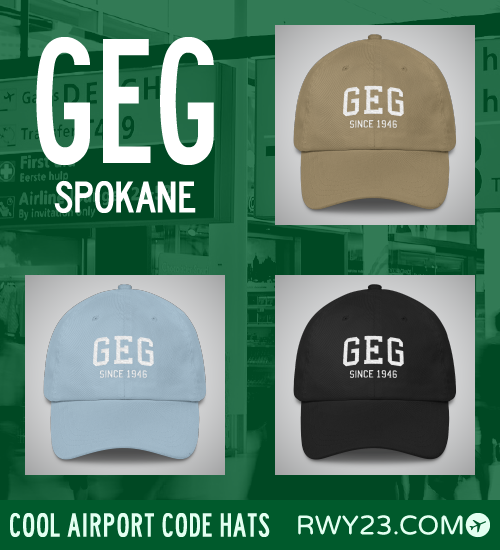 Spokane Airport Code Hats - Cool Airport Code Stuff - RWY23