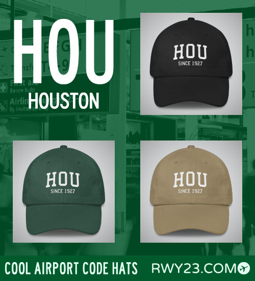 Houston (Hobby) Airport Code Hats - Cool Airport Code Stuff - RWY23