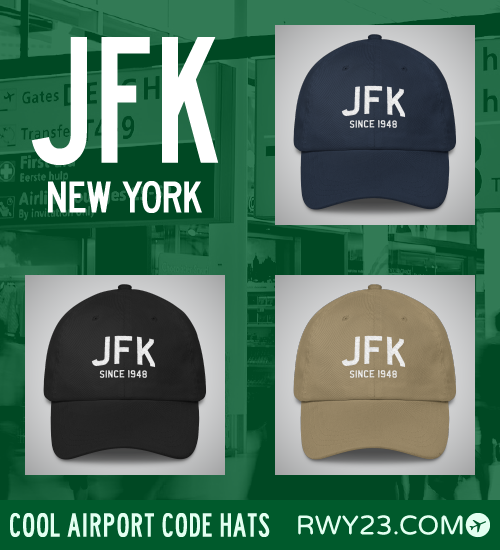 New York City (JFK) Airport Code Hats - Cool Airport Code Stuff - RWY23