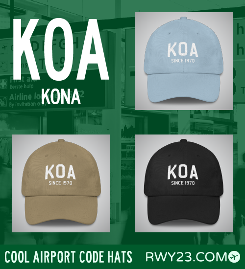 Kona Airport Code Hats - Cool Airport Code Stuff - RWY23