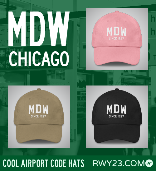 Chicago Midway Airport Code Hats - Cool Airport Code Stuff - RWY23