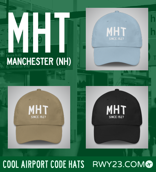 RWY23 - MHT Manchester Airport Code Hat - Cool Airport Code Stuff