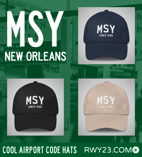 RWY23 - MSY New Orleans Airport Code Hat - Cool Airport Code Stuff