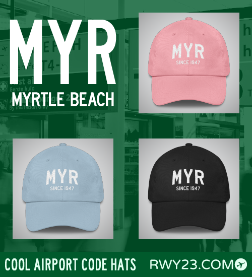 RWY23 - MYR Myrtle Beach Airport Code Hat - Cool Airport Code Stuff