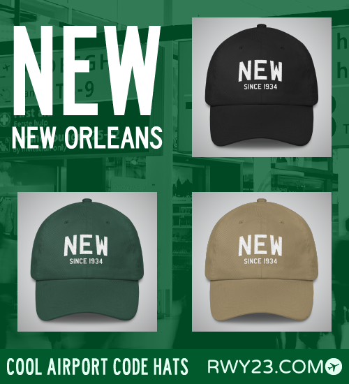 RWY23 - NEW New Orleans Airport Code Hat - Cool Airport Code Stuff
