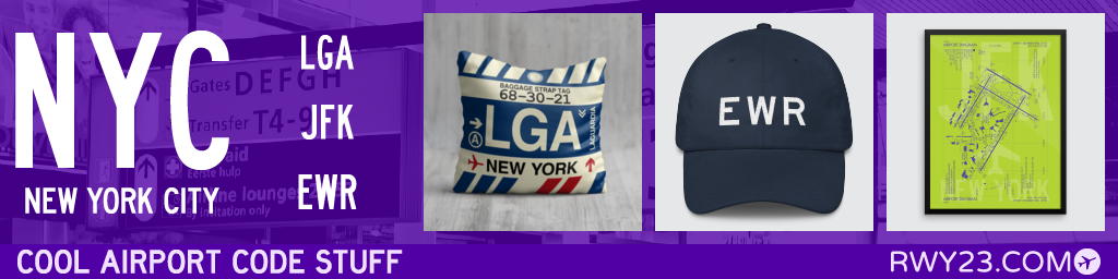 RWY23 - NYC New York City Airport Code Gifts - LGA JFK EWR