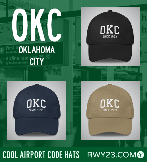 Oklahoma City Airport Code Hats - Cool Airport Code Stuff - RWY23