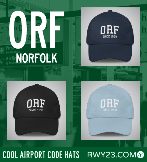 RWY23 - ORF Norfolk Airport Code Hat - Cool Airport Code Stuff