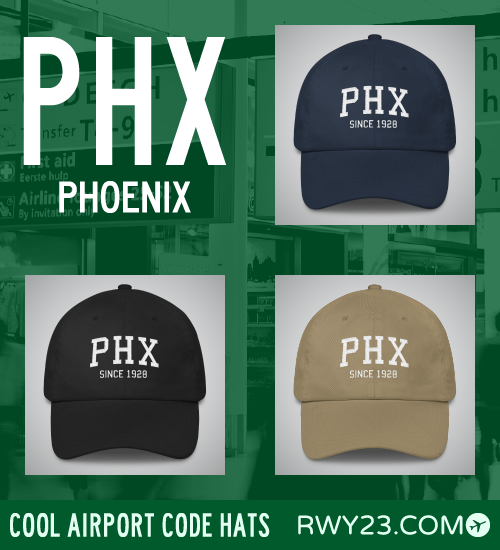 Phoenix Airport Code Hats - Cool Airport Code Stuff - RWY23
