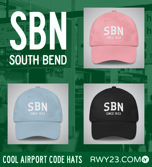 RWY23 - SBN South Bend Airport Code Hat - Cool Airport Code Stuff