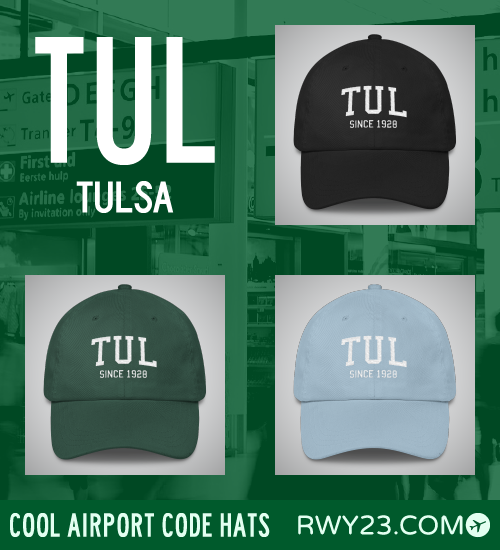 Tulsa Airport Code Hats - Cool Airport Code Stuff - RWY23