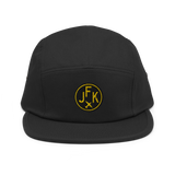 RWY23 - JFK New York Airport Code Camper Hat - City-Themed Merchandise - Roundel Design with Vintage Airplane - Image 5