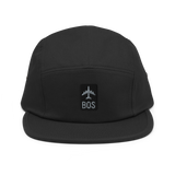 RWY23 - BOS Boston Airport Code Camper Hat - City-Themed Merchandise - Retro Jetliner Design - Image 1