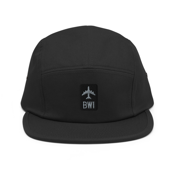RWY23 - BWI Baltimore-Washington Airport Code Camper Hat - City-Themed Merchandise - Retro Jetliner Design - Image 1