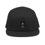 RWY23 - CVG Cincinnati Airport Code Camper Hat - City-Themed Merchandise - Retro Jetliner Design - Image 1