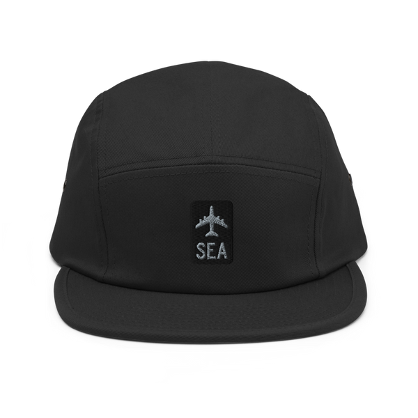 RWY23 - SEA Seattle Airport Code Camper Hat - City-Themed Merchandise - Retro Jetliner Design - Image 1